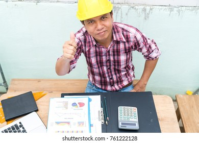 Engineer are work with computer laptop in construction site