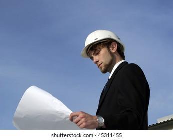 An engineer, working.