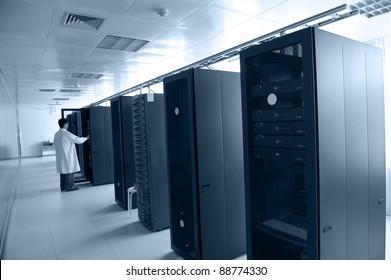 IT engineer working in data center.