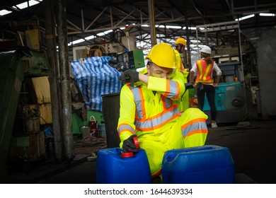 engineer working in industrial company with mechanical   receiving toxic substances.Hazardous substances the leak of a hazardous chemical in a chemical plant.