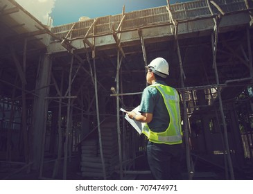 engineer working on building site