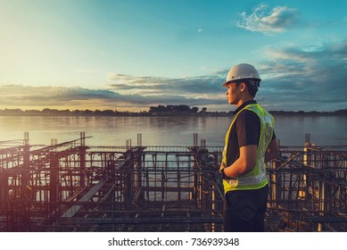 engineer working on building site.