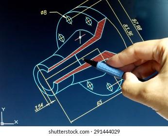 Ingenieur für kabelblauen Druck