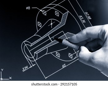 engineer working on cad blue print monochrome image
