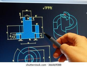 engineer working on cad blue print