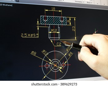 engineer working on cad blue print