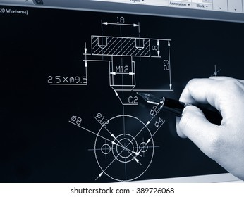 engineer working on cad blue print monochrome image
