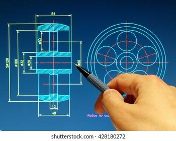 engineer working on cad blueprint detail