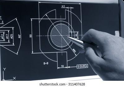 engineer working on cad design