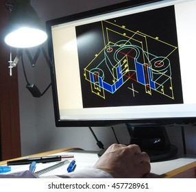 engineer working on cad design