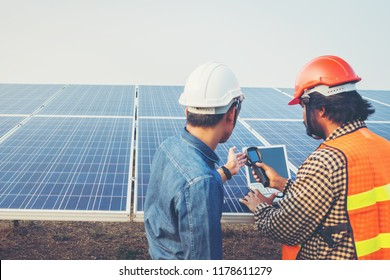 engineer working on checking equipment in solar power plant
