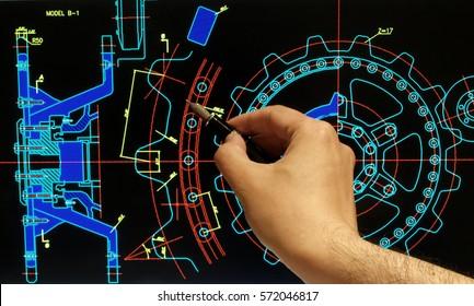 engineer working on mechanical design on computer