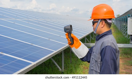 Engineer working on a solar power plant