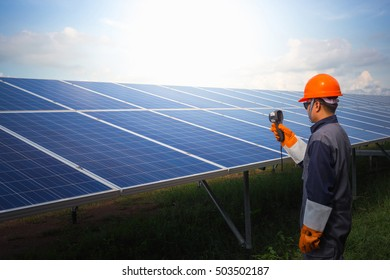 engineer working in solar power station