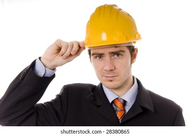 An engineer with yellow hat, isolated on white background