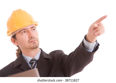 Engineer with yellow hat, pointing forward - isolated on white