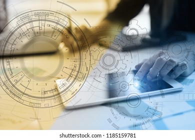 Engineering background with gears draft on virtual screen. Business innovation and modern technology concept.