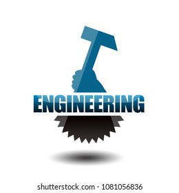 Engineering concept with hammer and gear wheel