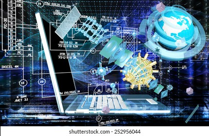 Engineering designing communications computer technologies.Industrial engineering connection