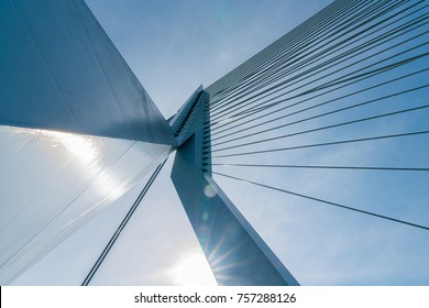Engineering detail abstarct cable stays of the Erasmus Bridge low point of view blue sky above