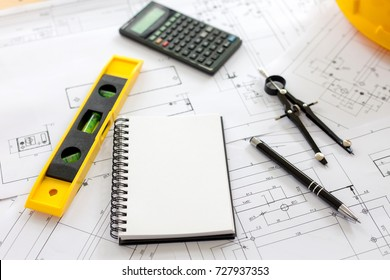 Engineering diagram blueprint paper drafting project stock photo engineering diagram blueprint paper drafting project sketch architectural industrial drawing detail and several drawing tools malvernweather Gallery