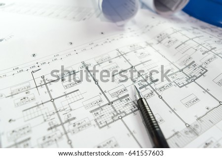 engineering diagram blueprint paper drafting project stock photo