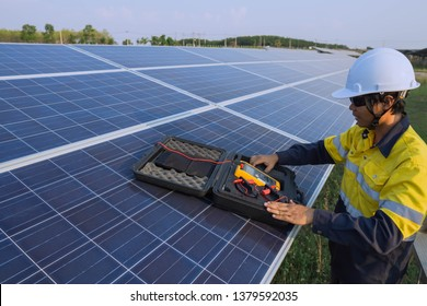 Engineering is doing preventive maintenance for solar panels to generate electricity efficiently, alternative electricity source, concept of sustainable resources.
