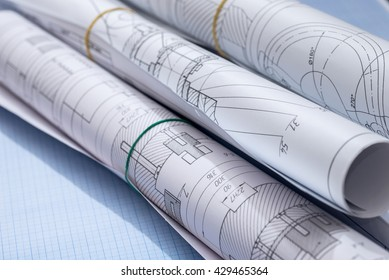 engineering drawings on graph paper