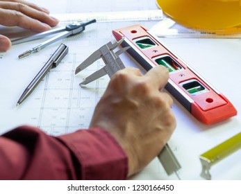 Engineering during use equipment to make drawing and blueprint of the construction