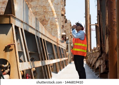 engineering foreman, supervisor, master controller in working place, command working area for safety and security method
