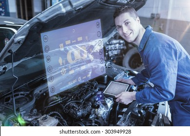 Engineering interface against auto mechanic by car with tablet pc