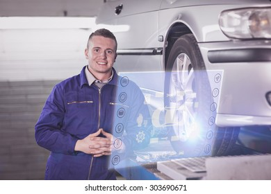 Engineering interface against front view of a mechanic next to a car