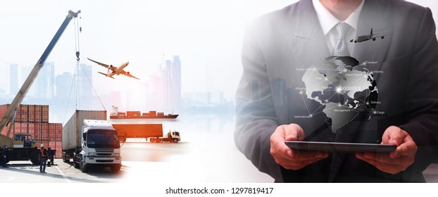 Engineering man are working in shipping and they are loading container for support logistics and import export business