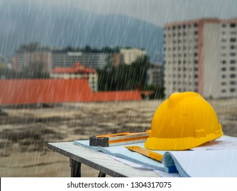 The engineering out site construct with heavy rain and miserable day