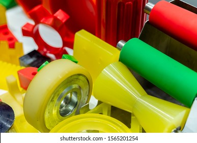 Engineering plastics. Plastic material used in manufacturing industry. Global engineering plastic market concept. Polyurethane and abs plastic parts materials. Plastic injection machine products.