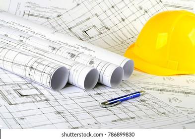 engineering project, yellow helmet