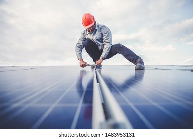 engineering team working on checking and maintenance equipment at green energy solar power plant, electrician checking and resolve problem of generate power and check status switchgear