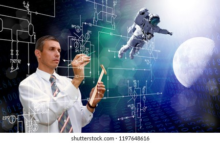 engineering technologies for moon space program.elements of this image furnished by NASA