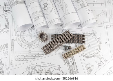 Engineering and technology. Technical drawing, part-steel drive chain. Bush and roller chains. The set of elements reflecting the concept of engineering and design. Or scientific and technical
