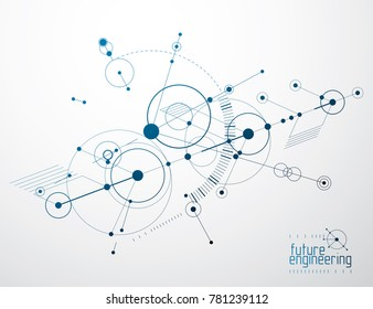Engineering technology wallpaper made with circles and lines. Technical drawing abstract background.