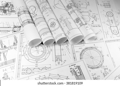 Engineering and technology. The work of the engineer. Technical drawing, machine parts. Metalworking, engineering and technology.