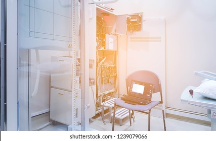 The engineering use computer checking and Maintenance  repairing or Preventive Maintenance-PM and checking every 3 month X-ray machine  / X-ray engine in the hospital. Services concept.