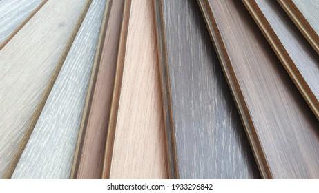 engineering or veneer wooden flooring ,click-lock type ,samples palette contains multi color tone and pattern of oak wood.