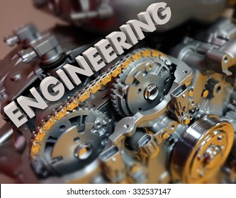 Engineering word in 3d white letters on a car, automobile or vehicle engine or motor to illustrate technology, power and precision