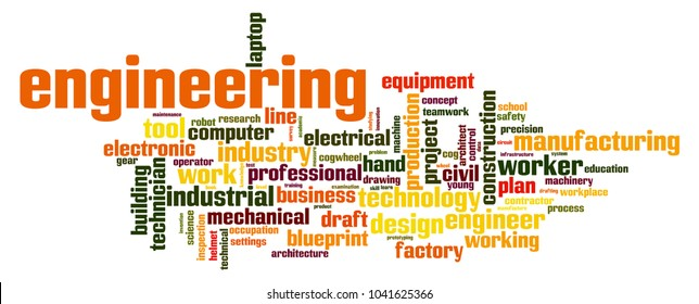 Engineering word cloud concept on white background, 3d rendering.