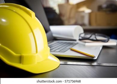 Engineering working desk with safty helmet