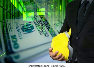Engineering workplace and yellow helmet for safety ,money background