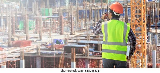 Engineers building blocks and high-rise buildings