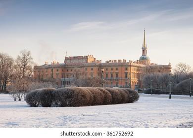 Engineer's Castle (Mikhailovsky Castle) in Saint Petersburg, winter