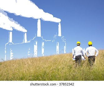 Engineers creating a factory